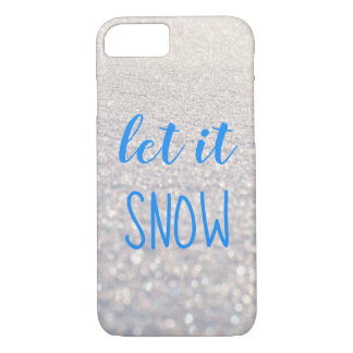 Let it Snow Blue Typography Shimmering Snow iPhone 8/7 Case