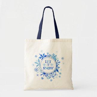 Let it Snow Blue Watercolor Tote Bag