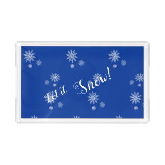 Let it Snow! Blue & White Snowflake Serving Tray