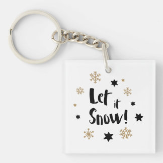 """Let it Snow!""  Calligraphy Christmas Keychain"