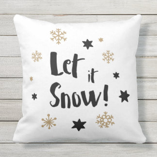 """Let it Snow!""  Calligraphy Christmas Throw Pillow"