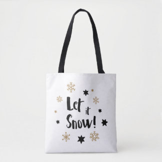"""""""Let it Snow!""""  Calligraphy Christmas Tote Bag"""