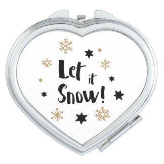 """Let it Snow!""  Calligraphy Christmas Travel Mirror"
