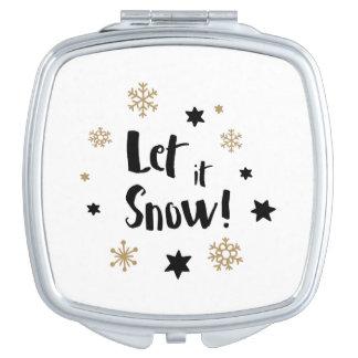 """Let it Snow!""  Calligraphy Christmas Vanity Mirrors"