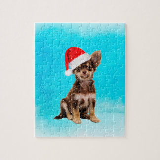 Let it Snow Christmas Chihuahua Dog Wearing Hat Jigsaw Puzzle