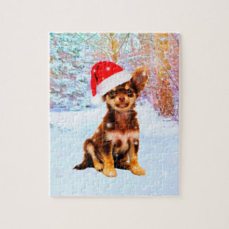 Let it Snow Christmas Holiday Chihuahua Dog Jigsaw Puzzle