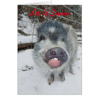 Let It Snow Christmas Pig Card