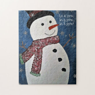 Let It Snow Christmas Snowman Puzzle