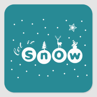 Let It snow Christmas Square Sticker