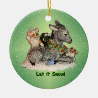 """Let it Snow!"" Corgis & Donkey Christmas Ornament"