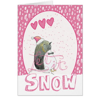 Let it snow   Cute Penguin Christmas Card