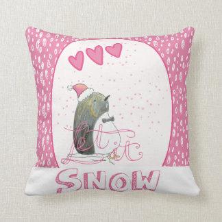 Let it snow | Cute Penguin Christmas Throw Pillow