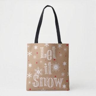 Let it Snow Faux Kraft Paper Look Tote Bag