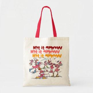 """Let it Snow"" Flamingo Winter tote"
