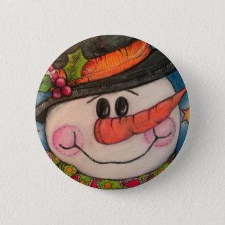 Let It Snow - Frosty Snowman 2 Inch Round Button