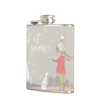 Let it Snow Girl and Bunny Flasks