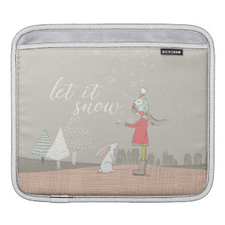Let it Snow Girl and Bunny iPad Sleeve
