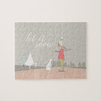 Let it Snow Girl and Bunny Jigsaw Puzzle