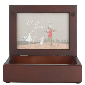 Let it Snow Girl and Bunny Keepsake Box