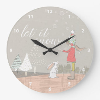 Let it Snow Girl and Bunny Large Clock