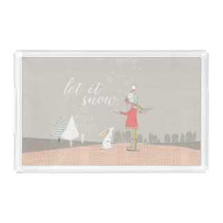 Let it Snow Girl and Bunny Perfume Tray