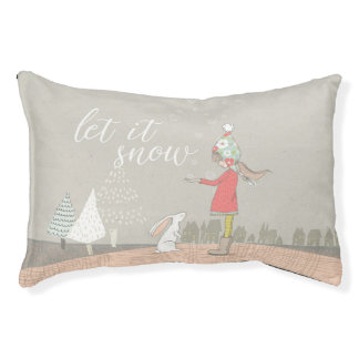 Let it Snow Girl and Bunny Pet Bed