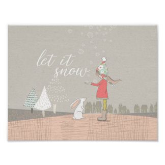 Let it Snow Girl and Bunny Poster