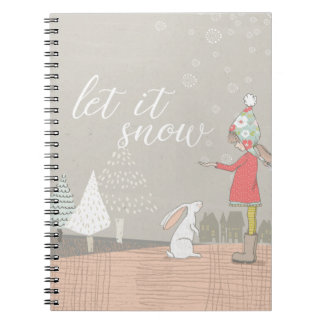 Let it Snow Girl and Bunny Spiral Notebook