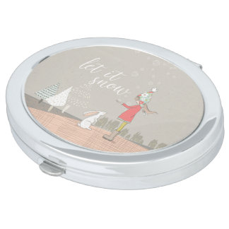 Let it Snow Girl and Bunny Travel Mirrors