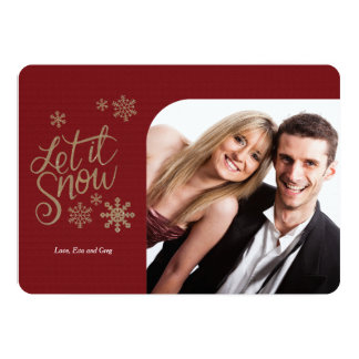 Let It Snow Gold Photo Holiday Card