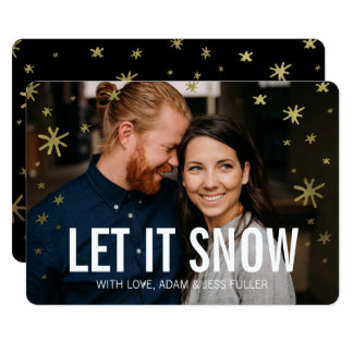 Let it Snow Gold Shine Holiday Photo Card