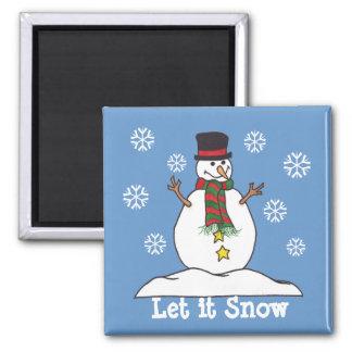 """""""Let it Snow"""" - Happy Snowman Magnet"""