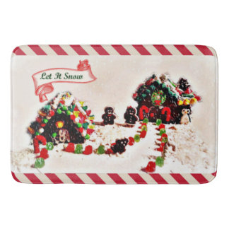 Let It Snow Holiday Gingerbread Family Bath Mat