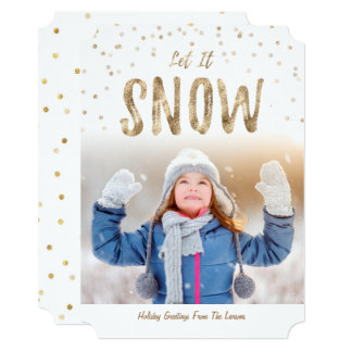 Let it Snow Holiday Photo Flat Card|Gold Card