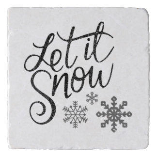Let It Snow Marble Kitchen Gift Trivet