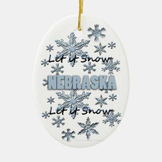 Let it Snow Nebraska  Christmas Ornament