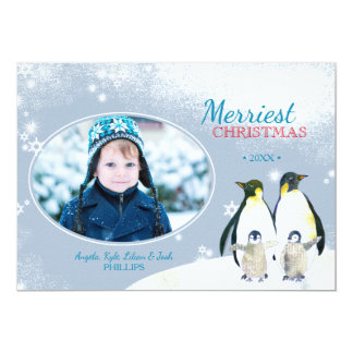 Let It Snow! Penguin Family Holiday Photo Card