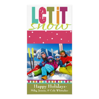 Let it snow Photo Christmas Card Personalized Photo Card