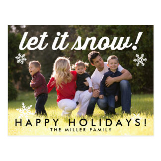 Let It Snow Photo Holiday Card Postcard