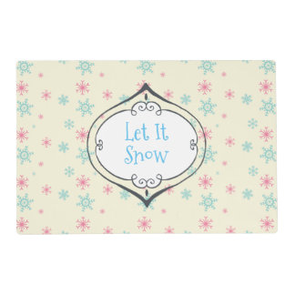 Let it Snow Pink And Blue Snowflake Pattern Laminated Place Mat