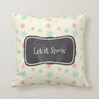 Let it Snow Pink And Blue Snowflake Pattern Throw Pillow