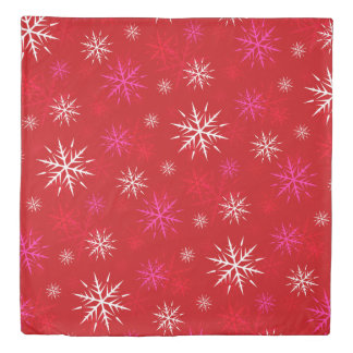"""Let It Snow"" Red Snowflake Pattern Duvet Cover"