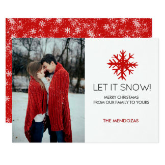 Let It Snow! Red White Snowflakes Photo Christmas Card