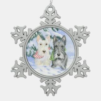 Let It Snow Scotties Snowflake Pewter Christmas Ornament