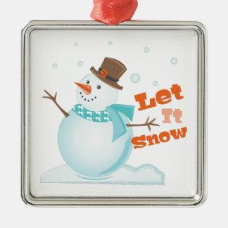 Let It Snow Silver-Colored Square Ornament