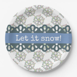 Let it Snow Snowflake Pattern Holiday 9 Inch Paper Plate