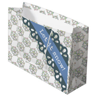 Let it Snow Snowflake Pattern Holiday Large Gift Bag
