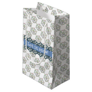 Let it Snow Snowflake Pattern Holiday Small Gift Bag
