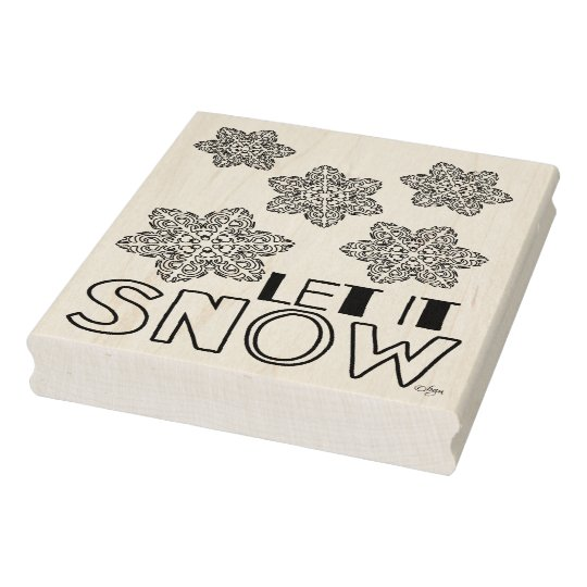 Let It Snow Snowflake Rubber Wood Stamp, 4 x 5 Rubber Stamp
