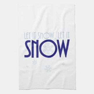 Let It Snow Snowflake Winter Kitchen Towel